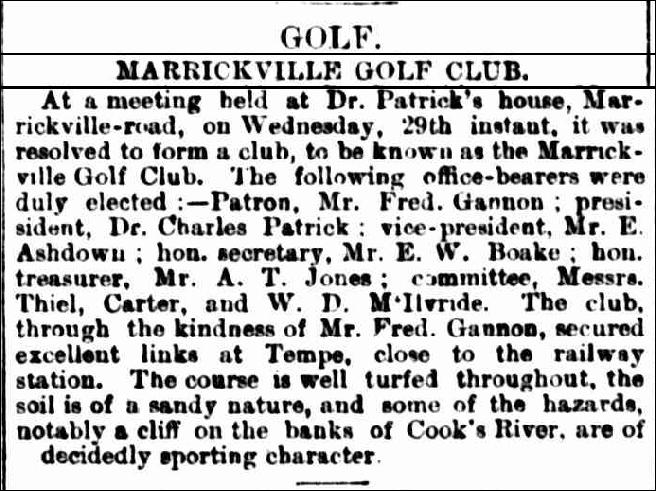SMH 1897-10-01 Marrickville Golf Club Formed2